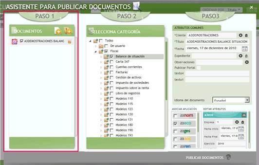 Paso 1 Asistente para publicar documentos