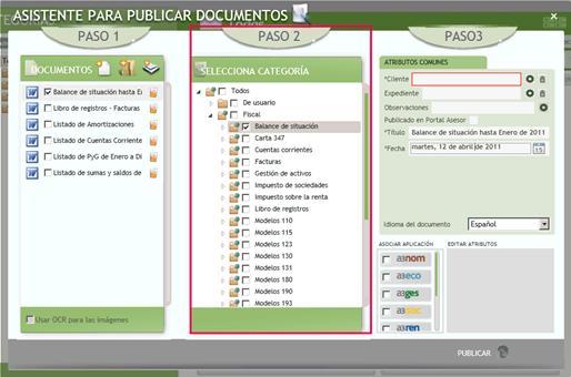 Paso 2 Asistente para publicar documentos