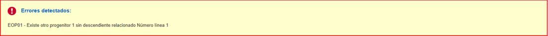 EOP01 – Existe otro progenitor 1 sin descendientes relacionado Número línea 1