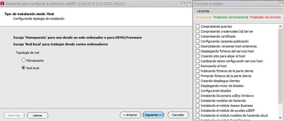 Asistente para configurar la aplicación a3ERP