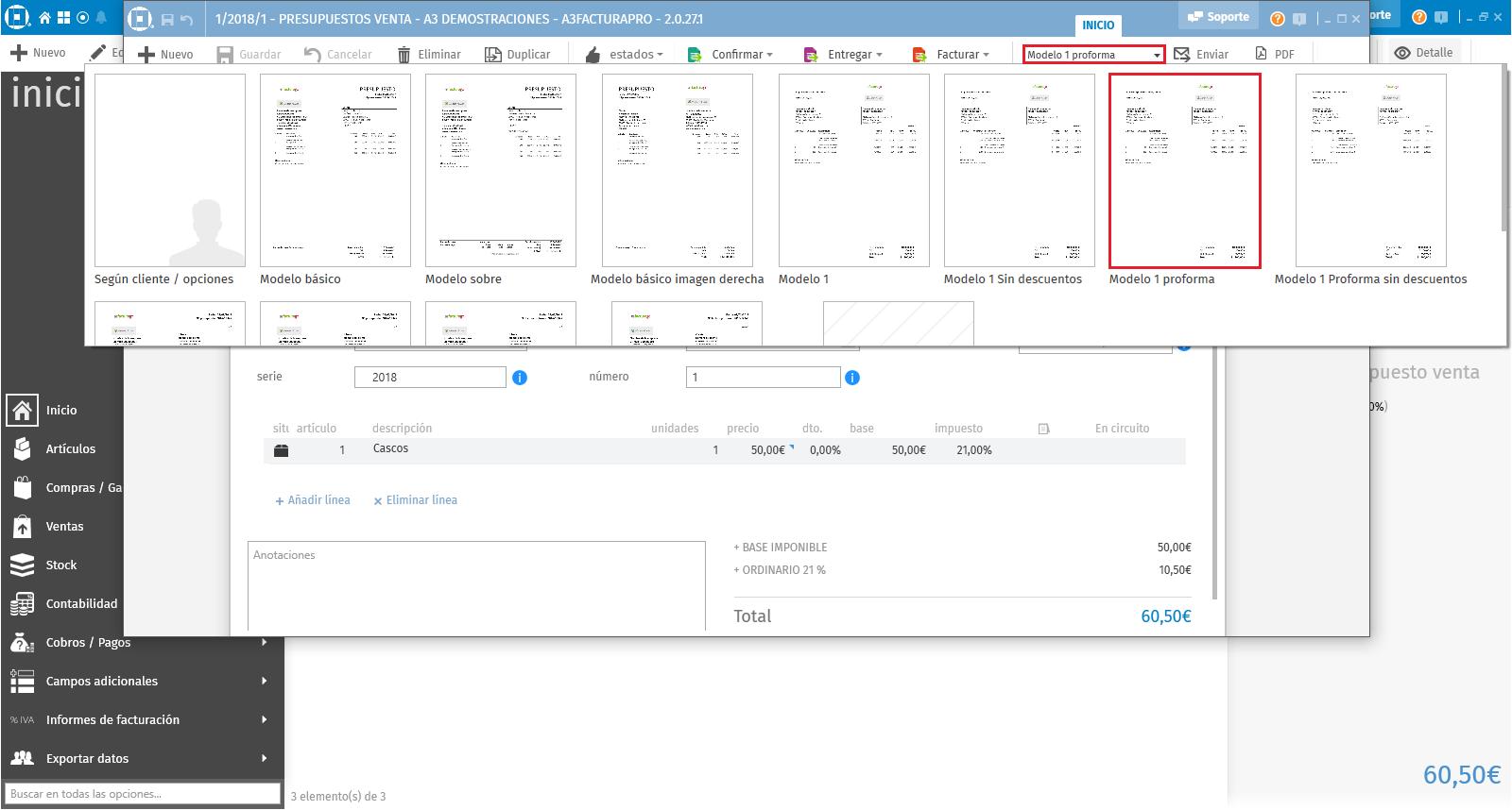 Modelos factura proforma que facilita la aplicación