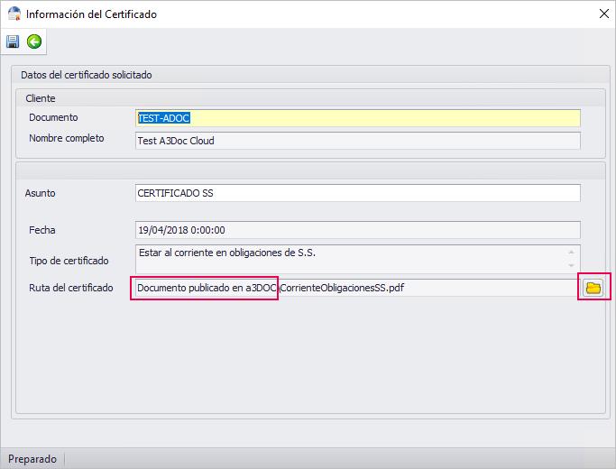 informacion del certificado