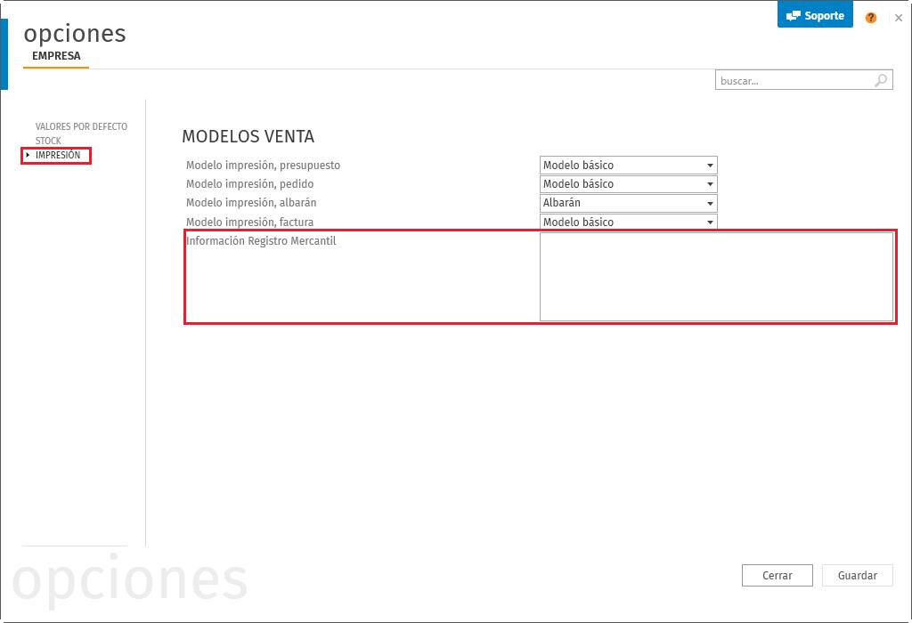 Información del Registros Mercantil en Opciones