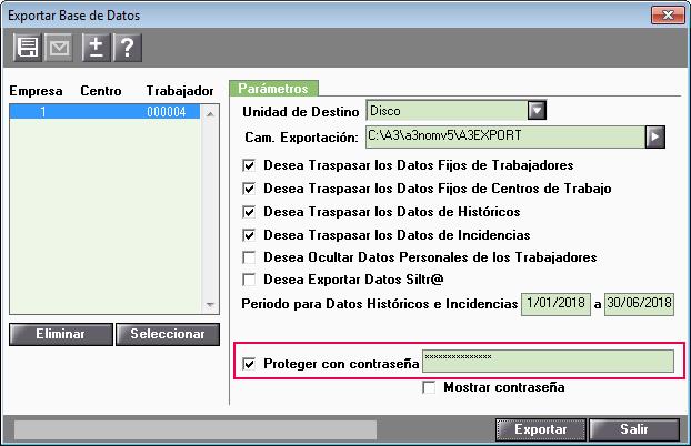 exportar base datos proteger contrasena