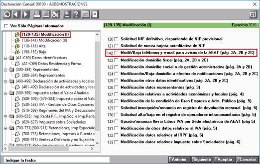 """Casilla 142 """"Modif/Baja teléfonos y e-mail para avisos de la AEAT (pág. 2ª, 2B y 2C)"""