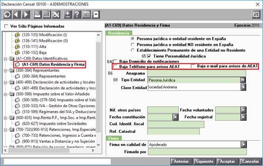 Baja Teléfono para enviar avisos AEAT y Baja e-mail para avisos de AEAT