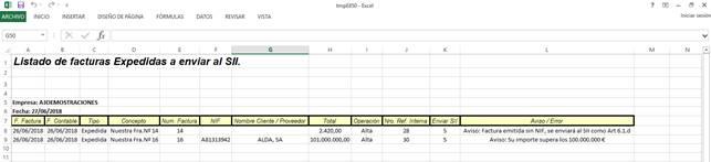 Listado Excel con errores en el pre chequeo