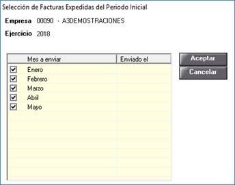 Posibilidad de repetir el envío inicial de los meses seleccionados