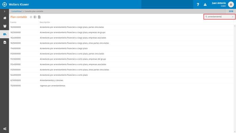 Búsquedas por contenido en el código y en la descripción de las cuentas contables