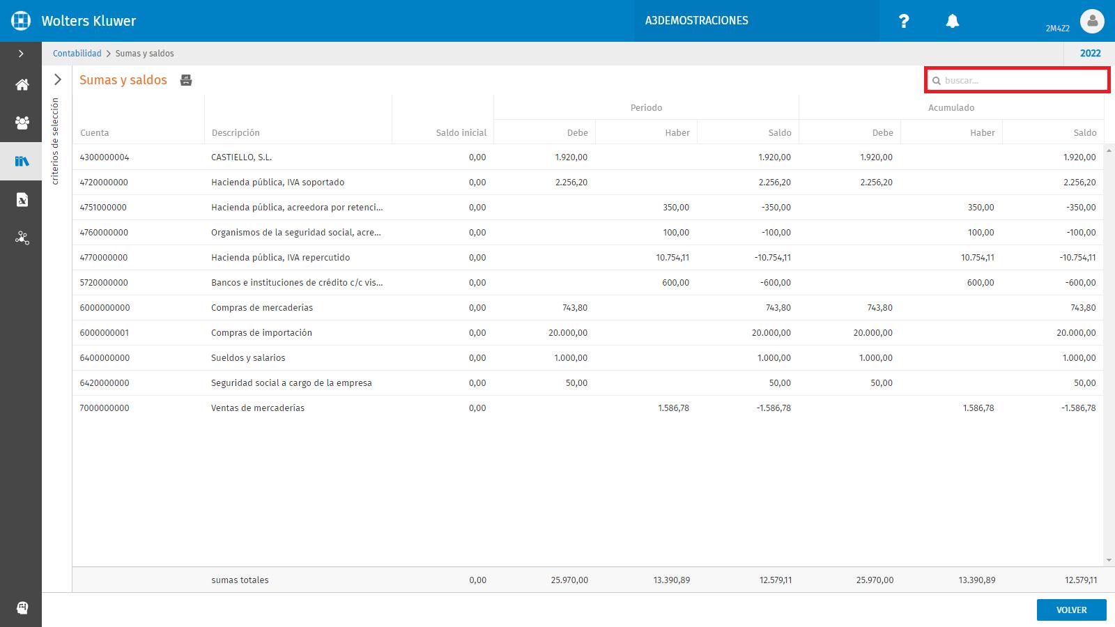 Busquedas por contenido en el codigo y en la descripcion de las cuentas contables