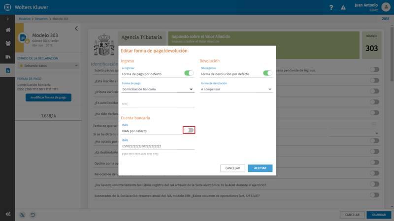 Editar forma de pago/devolución