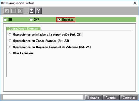 Datos Ampliación Factura / Exentas