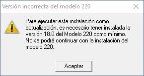Versión incorrecta del Modelo 220