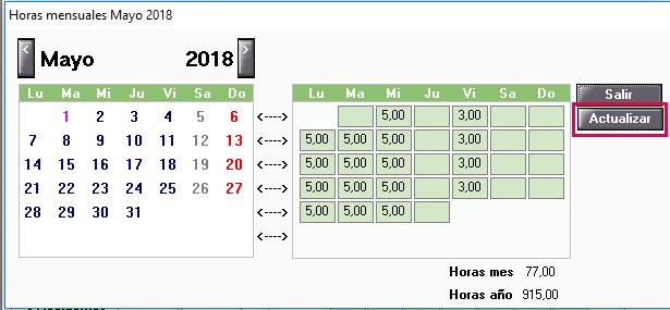 Actualizar Calendario.Actualizar Calendario De Trabajador Parcial A Horas Con