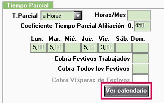 actualizar calendario tiempo parcial