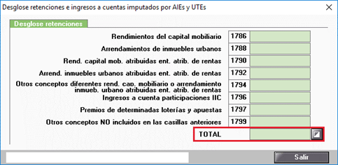 Desglose retenciones e ingresos a cuenta imputados por AIEs y UTEs Manual