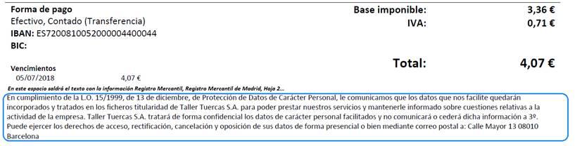 Texto de cumplimiento de la L.O. 15/1999, de 13 de diciembre , de Protección de Datos de Carácter Personal