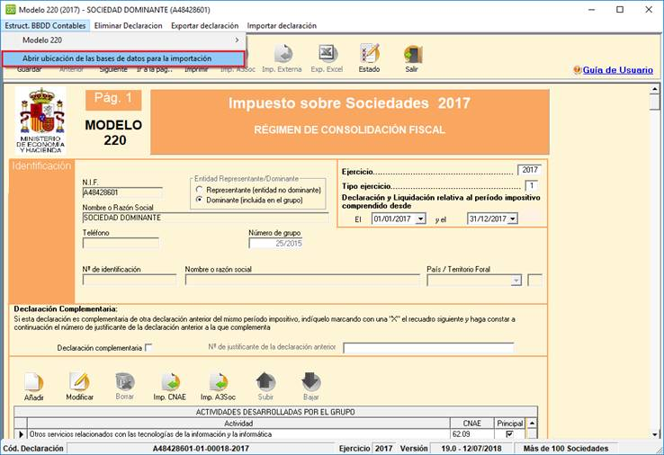 Estruc. BBDD Contables / Abrir ubicación de las bases de datos para la importación