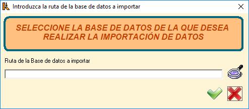 Introduzca la ruta de la base de datos a importar