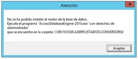 aviso no se ha podido instalar el motor de la base de datos
