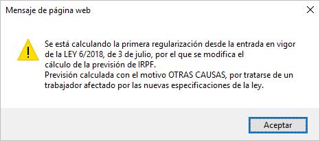 calculo IRPF mensaje desde ficha trabajador