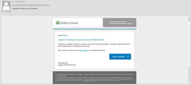 e-mail con la invitación para crear la cuenta