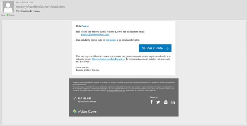Email activar cuenta