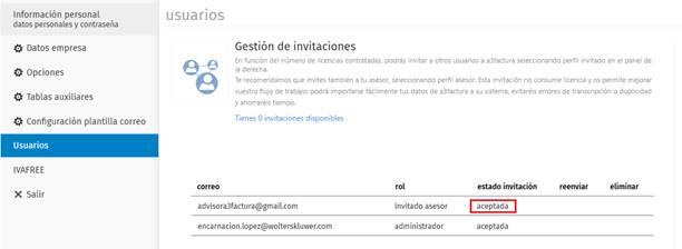 Gestión de invitaciones aceptada