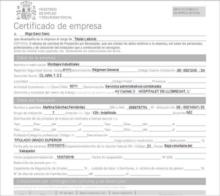 certificado empresa listado