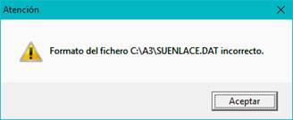 Formato del fichero SUENLACE.DAT incorrecto
