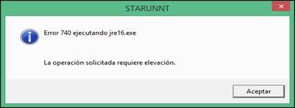 Error 740 ejecutando jre16.EXE. La operación solicitada requiere elevación.