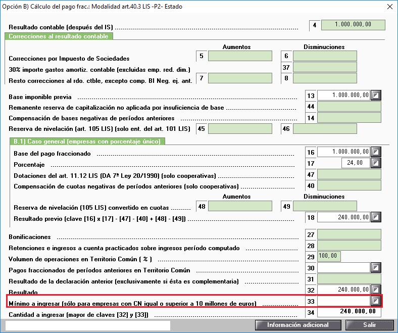Modelo 202 Opcion B No calculo del minimo a ingresar