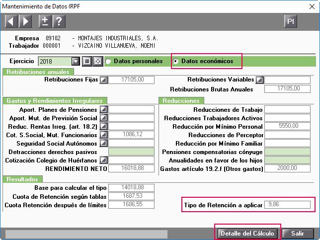 Datos economicos Prevision IRPF