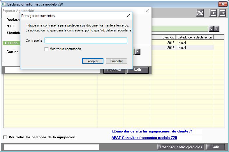 Exportar Modelo 720 proteger documento