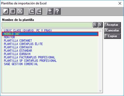 Plantillas de importación de Excel