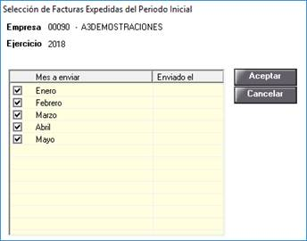 Selección de facturas Expedidas del Período Inicial