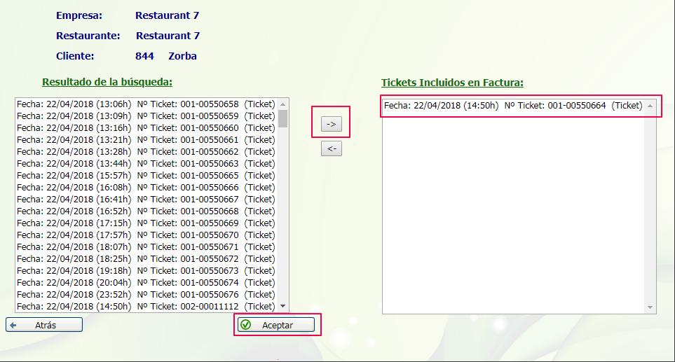 ticket incluido en factura