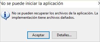 no se puede iniciar la aplicacion Portal Neos
