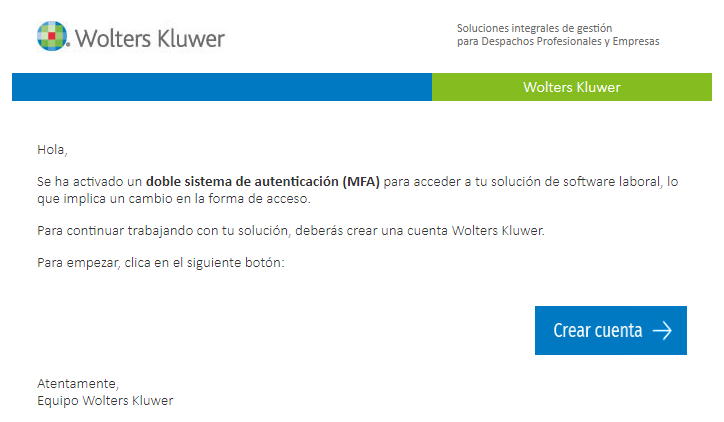 WKA email crear cuenta