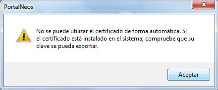 no se puede utilizar el certificado de manera automatica