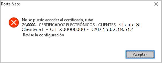 no se puede acceder al certificado