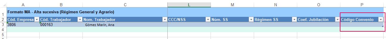 informar codigo convenio de forma masiva Excel
