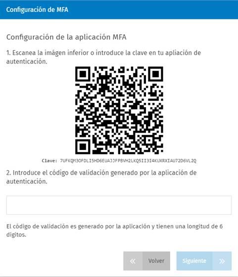 Configuración de la aplicación MFA