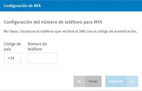 Configuración del número de teléfono para MFA