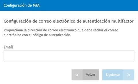 Configuración de correo electrónico de autenticación multifactor