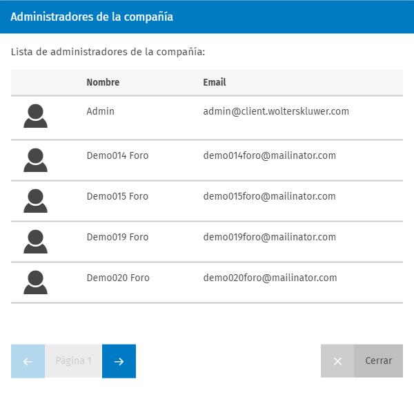 Lista administradores de la compania