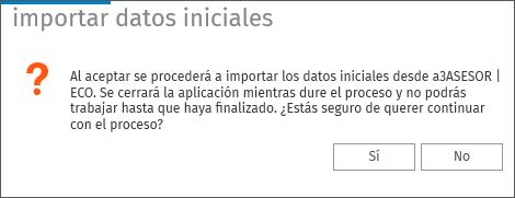 Aceptar importar datos iniciales