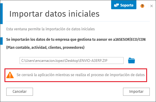 Importar datos iniciales
