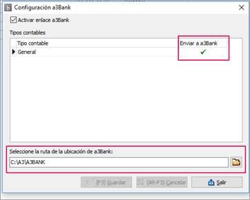 Configuración del a3erp bank