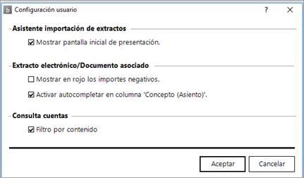 Configuración por usuario